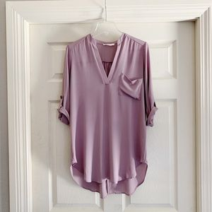 Lush Deep V Neck Tunic Top Small B218